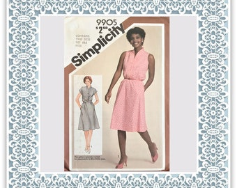 Simplicity 9905 (1981) Misses' pullover dress (with petite option) - Vintage Uncut Sewing Pattern