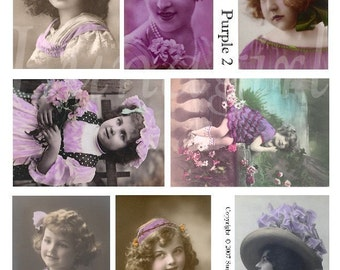 PURPLE GIRLS digital collage sheet, vintage photos Victorian children flappers hats, lavender tinted postcards altered art ephemera DOWNLOAD