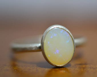 White Opal Ring in Sterling Silver, Bezel Set Oval Natural Solid Australian Opal Gemstone, Personalised Women's Jewelry with Engraving