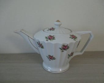 Vintage Fine China Teapot  Roses Porcelain