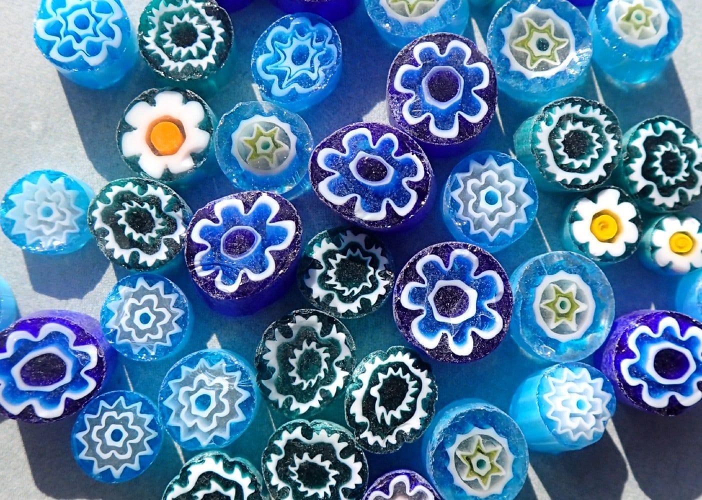 By the Sea Blue Millefiori - 25 grams - Unique Mosaic Glass Tiles ...