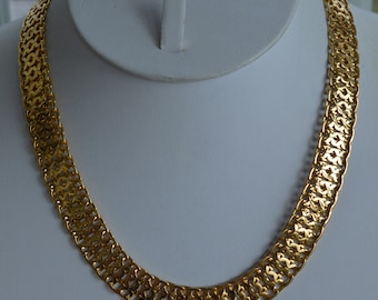 "MONET Gold tone Flat Link Chain Necklace, Vintage, 17"" (TB367)"