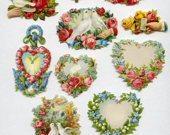 Victorian DIE CUTS, Die Cuts Pack, Victorian Wedding, Scrap Reliefs, Rose Die Cuts, Scrap Reliefs, Dove Die Cuts, Victorian Clip Art, 7354