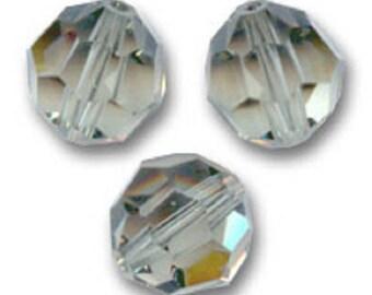10 round 4 mm black diamond Swarovski Crystal pearls
