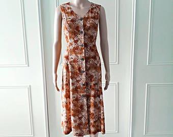 Handmade dress summer dress 1980's vintage dress 80's dress patterned dress midi dress mid length dress brown ladies dress size 12
