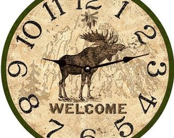 Lodge Clock- Welcome Moose Lodge Clock