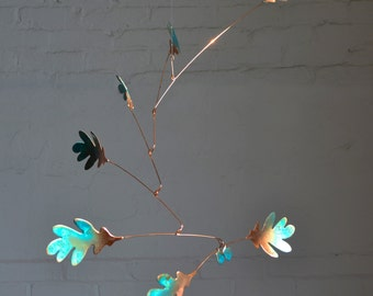 Free Shipping on Copper Mobile Art - Handmade Oak Leaf Mobile