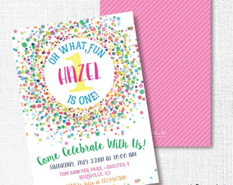 Bright Confetti Birthday Party Invitation , Printable, Gumball Invite, Bright, Primary, Girl, Candy Sprinkle, 1st, First, Funfetti, 2nd, 3rd
