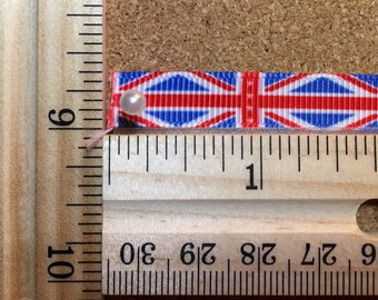 Red Blue Union Jack Flag 3/8 inch Grosgrain Ribbon
