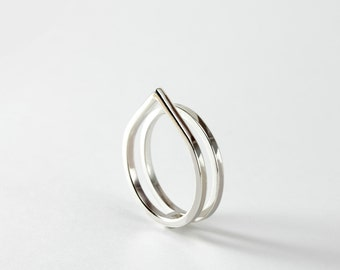 Gepaart - Doppel-Ring - minimalistische Sterling Silber-Spitzen-Doppel-Ring Silber