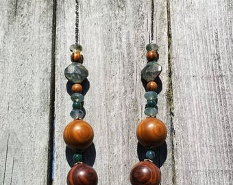 Handmade Necklace Featuring Vintage Wood, Moss Agate & Chrysocolla