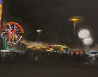 "at night on the funfair / ""Nachts auf'm Rummel"" Acryl & Pastell on canvas 60x90 cm"