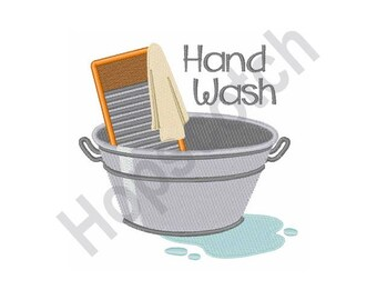 Hand Wash - Machine Embroidery Design - 5 X 7 Hoop, Laundry, Wash Day, Chore