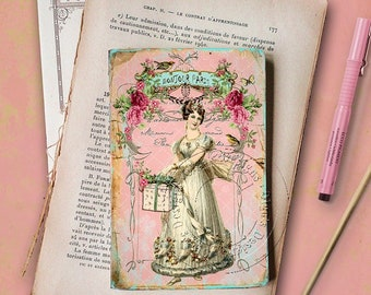 Pocket notebook - Shabby chic style - Mode de Paris - 48 plain pages - Handmade Journal
