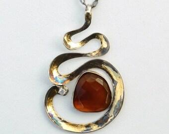 Snake Charmer, Pendant, Orange Agate