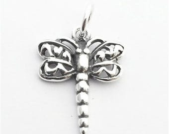 Sterling Silver dragonfly charm , silver filligree dragonfly charm , silver 925 dragonfly pendant insect jewelry damsel fly charm