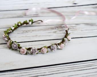Handcrafted Pastel Pink and Purple Flower Crown - Flower Girl Halo - Easter Flower Crown - Wedding Halo - Lavender Renaissance Flower Crown