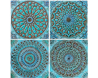 Moroccan decor, Set of 4 Moroccan tiles, Moroccan wall art, Outdoor wall art, Moroccan tile, Ceramic tile,Moroccan garden art,Turquoise 30cm