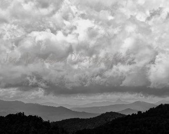 Storm Clouds Photos- Blue Ridge Mountain photography, Blue Black & White Home Decor, NC landscape wall art, nature Print,  striking wall art