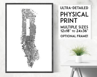 buildings of manhattan print physical new york map print new york print manhattan poster manhattan map ny wall art ny print