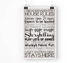 Grandparents' House Rules - 11x17 Physical Poster (not a download)