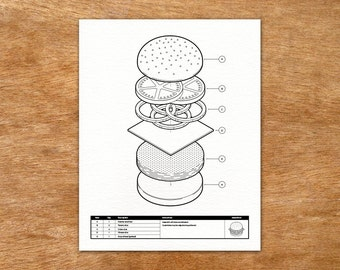 Burger Assembly Drawing - Isometric handmade screen print