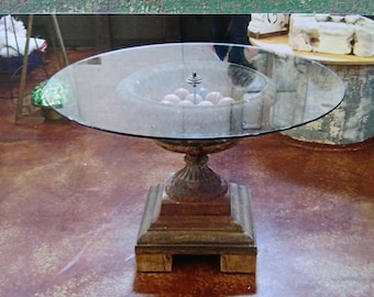 Circa 1880's cast iron urn table base with glass top