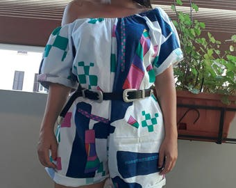 Handmade Romper with Vintage Fabric Color Block Size S M