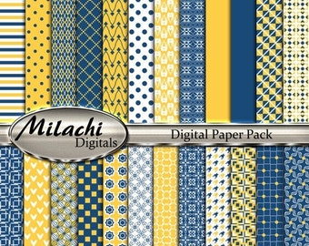 """60% OFF SALE Midnight Blue and Sunglow digital paper pack, 8.5"""" x 11"""" scrapbook papers, backgrounds -Commercial Use - Instant Download -M259"""