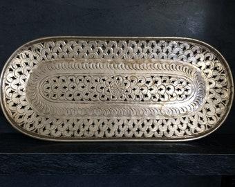 Primitive Hammered Metal Moroccan Tray Silver