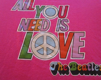 Beatles Shirt. Vintage T-shirt. Graphic Tee. Top. Women's. Retro Hot Pink. All You Need Is Love. Peace. Love. Sweet Statement Streetwear.