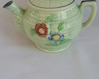 Vintage Tiny Teapot, Green with Pretty Flowers, Japan
