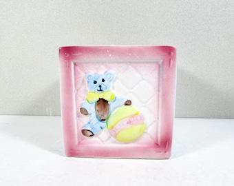 New Baby Planter Nursery Decor Pink Blue Ceramic Teddy Bears Toys My-Neil Imports