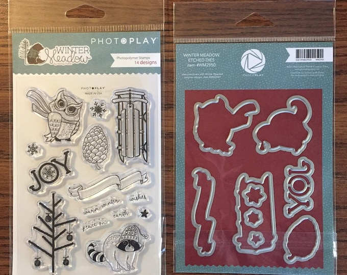 Photo Play WINTER MEADOW Theme Clear Polymer Stamps and Etched Dies Set