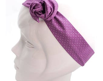 Twisted purple wire with white polka dots