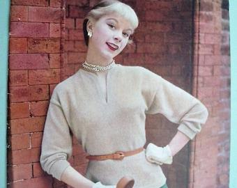 Vintage Knitting Needlecraft Magazine 1950s - Stitchcraft 1954 UK - 50s knitting patterns women's sweaters - vintage sewing embroidery book