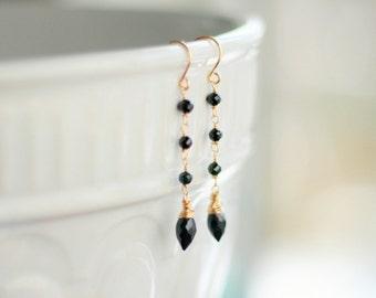 Black Spinel Gold Earrings