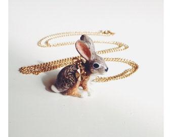 Porcelain Jack Rabbit Necklace