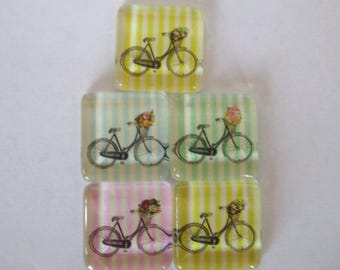 Bike Lover Square Glass Magnets Set of 5