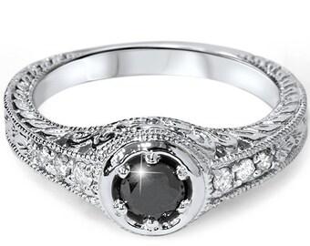 Black Diamond Engagement Ring Vintage 3/4CT 14K White Gold Antique Hand Engraved Filigree Style Art Deco Size 4-9