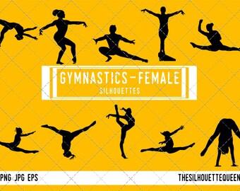Woman Gymnast silhouette, Female Gynmastics clipart, Girl sports vector, Girls Svg, png, eps,   jpg
