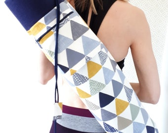 NEW DESIGN * Triangle Print, Large Yoga Mat Bag with zipped pocket