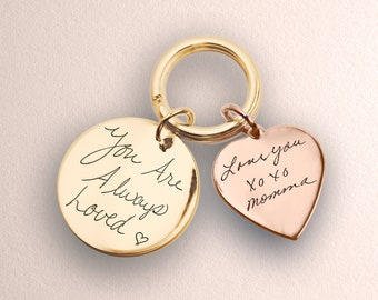 Disc + Heart Keychain with Actual Engraved Handwriting