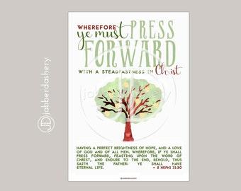 Press Forward Saints Tree Typography (4 sizes) 2016 LDS Mutual Theme Poster Binder Covers Mormon Art Scripture Nephi