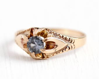 Sale - Blue Sapphire Ring - Antique 10k Rosy Yellow Gold Vintage Size 4 3/4 Alternative Engagement - Promise Belcher Art Nouveau Jewelry