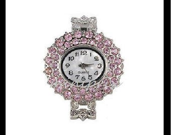 X 1 round quartz watch face rhinestones pink (battery included)