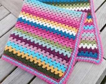 Rainbow lap/pram blanket -  crochet granny afghan - ready to post