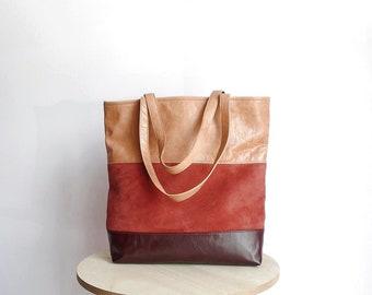 Leather tote bag dark burgundy, messenger bag beige and dark red, hobo bag leather, beige handbag, tote bag suede, bag with three colors