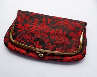 Black & Red Japanese Chinese print clutch bag