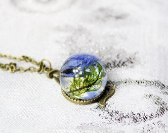 snake necklace moss jewelry forest necklace blue-green jewelry terrarium necklace blue green moss witch statement gift Рю194